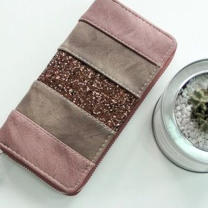 Bags - Blush or Black Glitter Zippered Wallet